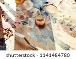 workplace painter palette with... | Shutterstock . vector #1141484780