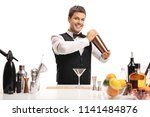 barman with a shaker isolated... | Shutterstock . vector #1141484876