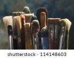 oil paints and paint brushes on ... | Shutterstock . vector #114148603
