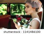 beautiful bride with wedding... | Shutterstock . vector #1141486100