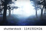 misty forest at sunrise  spooky ... | Shutterstock . vector #1141502426