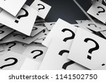 Small photo of Many question marks on WHITE papers,3D rendering