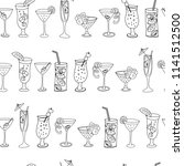 cocktail glasses in a row... | Shutterstock .eps vector #1141512500