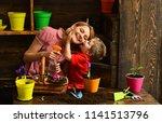 florist concept. little kid... | Shutterstock . vector #1141513796
