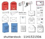 hand drawn mail  post  letter ... | Shutterstock .eps vector #1141521506