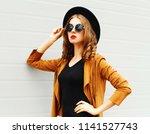 beautiful woman model wearing a ... | Shutterstock . vector #1141527743