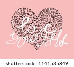 love yourself text and heart  ... | Shutterstock .eps vector #1141535849