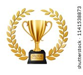 realistic golden trophy with...   Shutterstock .eps vector #1141538873