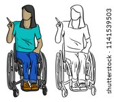 disabled teen woman with long... | Shutterstock .eps vector #1141539503