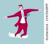 the businessman skateboarding... | Shutterstock .eps vector #1141563899