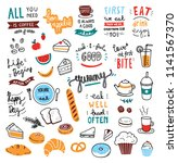 cafe theme doodle elements | Shutterstock .eps vector #1141567370
