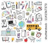 back to school doodle elements | Shutterstock .eps vector #1141567373