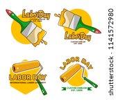 a set labor day logo emblem  | Shutterstock .eps vector #1141572980