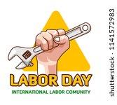 a set labor day logo emblem  | Shutterstock .eps vector #1141572983
