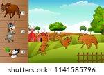 cartoon farm animals collection ... | Shutterstock .eps vector #1141585796