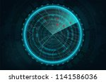 radar screen in futuristic... | Shutterstock .eps vector #1141586036