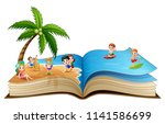 open book with group of... | Shutterstock .eps vector #1141586699