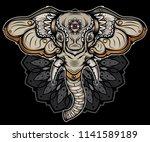 traditional elephant head... | Shutterstock .eps vector #1141589189