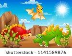 cartoon happy dinosaurs living... | Shutterstock .eps vector #1141589876
