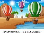 cartoon happy kids riding hot...   Shutterstock .eps vector #1141590083