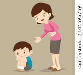 sad children wants to embrace... | Shutterstock .eps vector #1141595759