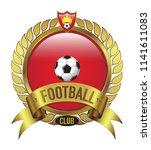red football club logo bevel...   Shutterstock .eps vector #1141611083