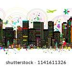 colorful metropolis  seamless...   Shutterstock .eps vector #1141611326
