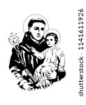 saint anthony with child jesus... | Shutterstock .eps vector #1141611926