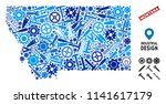 Instrument Montana State map mosaic of wheels, spanners, hammers and other instruments. Abstract territorial plan in blue color hues. Vector Montana State map is constructed of tools.