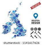 Industrial Great Britain and Ireland map mosaic of cogs, wrenches, hammers and other hardware. Abstract territory scheme in blue shades. Vector Great Britain and Ireland map is shaped of instruments.