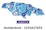 Service Jamaica map collage of gearwheels, spanners, hammers and other hardware. Abstract geographic scheme in blue color tinges. Vector Jamaica map is shaped of equipment items.
