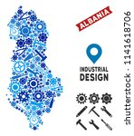 Industrial Albania map collage of gearwheels, spanners, hammers and other hardware. Abstract geographic plan in blue color tones. Vector Albania map is constructed of instruments.