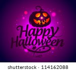 happy halloween card with... | Shutterstock .eps vector #114162088