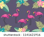 flamingo floral summer  pattern  | Shutterstock . vector #1141621916