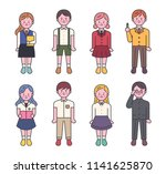 various student characters in... | Shutterstock .eps vector #1141625870