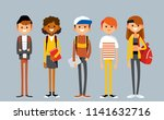 set of diverse college or... | Shutterstock .eps vector #1141632716