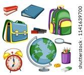 cartoon school equipment ... | Shutterstock .eps vector #1141639700