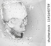 3d vector human skull of all... | Shutterstock .eps vector #1141640759