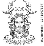 portrait of horned god ... | Shutterstock .eps vector #1141647839