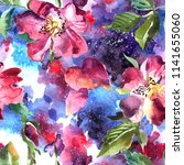 beautiful hand drawn watercolor ... | Shutterstock . vector #1141655060