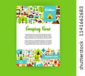 camping time poster. flat... | Shutterstock .eps vector #1141662683