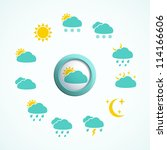 3d button with weather icons... | Shutterstock .eps vector #114166606