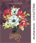 floral vintage greeting card...   Shutterstock .eps vector #1141672586