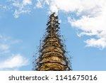 old golden pagoda is repairing... | Shutterstock . vector #1141675016