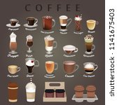 coffee types menu with cups.... | Shutterstock .eps vector #1141675403