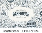 bakery top view frame. hand... | Shutterstock .eps vector #1141679723