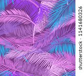 pink and violet leaves of palm... | Shutterstock .eps vector #1141680326