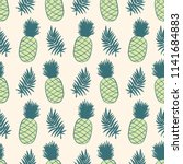 pineapples and tropical leaves... | Shutterstock .eps vector #1141684883