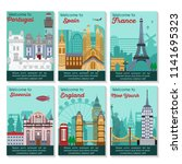 set of different cities for... | Shutterstock .eps vector #1141695323