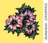 three inflorescences of petunia ... | Shutterstock .eps vector #1141695413